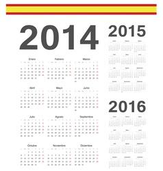 Set of Spanish 2014 2015 2016 calendars vector image vector image