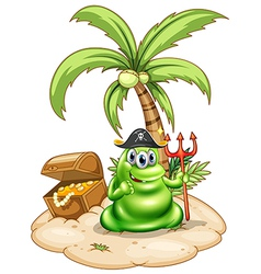 A pirate monster in the island vector image