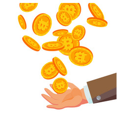 bitcoins falling to business hand flat vector image