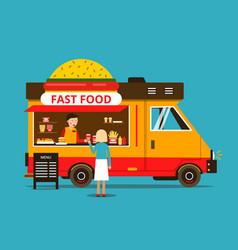 Cartoon of food truck on the street vector