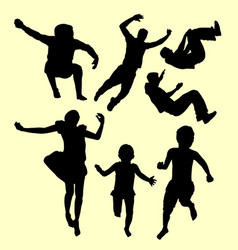 children training sport silhouette vector image vector image