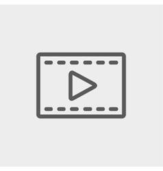 Film strip with arrow thin line icon vector