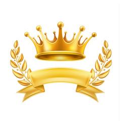 gold crown ribbon laurel wreath winner shiny sign vector image
