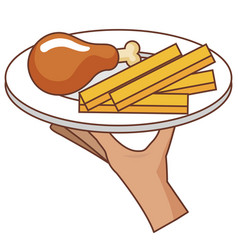 hand server with thigh chicken and french fries vector image vector image