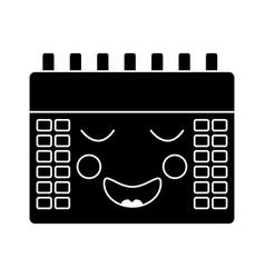 happy calendar kawaii icon image vector image vector image