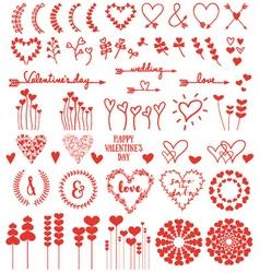 Heart flowers set vector image vector image
