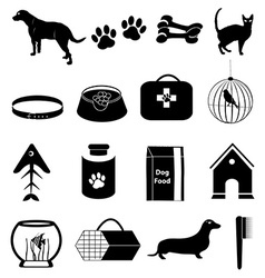 Pet dogs icons set vector image