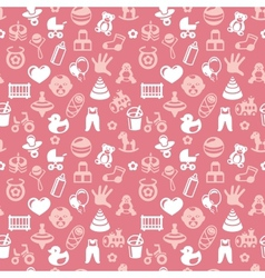 seamless pattern with bright kid icons vector image vector image