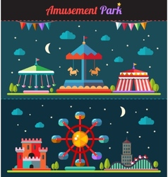 Set of flat design composition with amusement park vector image