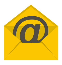 Yellow envelope with email sign icon isolated vector