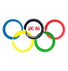 2016 Olympic gamesWatercolor rings vector image