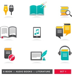 collection of E-book audiobook and literature vector image vector image