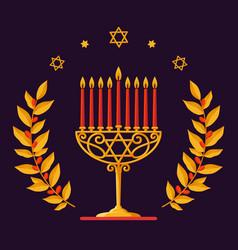hanukkah card - happy hanukkah greeting vector image vector image