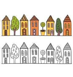 Houses in small town pattern vector image vector image