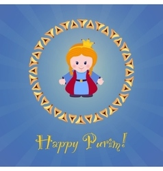 Jewish holiday of Purim Greeting card with Esther vector image vector image