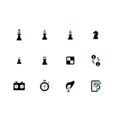 Chess duotone icons on white background vector image