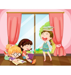 girls studying in room vector image vector image