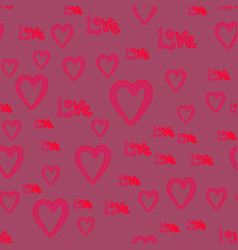 handdrawn doodle cute hearts and love word vector image