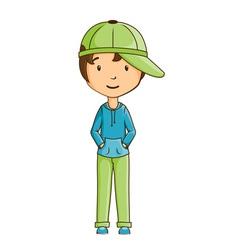 Little boy wearing cap vector image