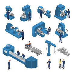 machine tools with workers isometric set vector image vector image