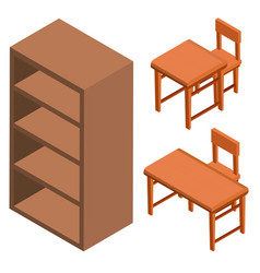 3d design for shelf and chairs vector