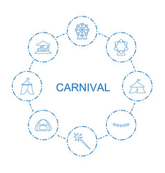 8 carnival icons vector