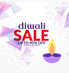 Abstract diwali sale background design with diya vector