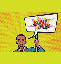 African protester businessman with a poster game vector