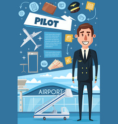 airline pilot airplane and airport vector image