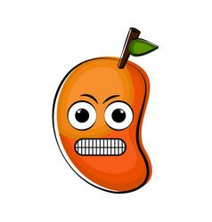 angry mango cartoon character emote vector image