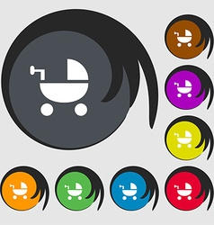 Baby Stroller icon sign Symbols on eight colored vector