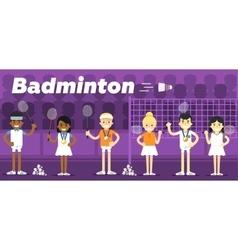 Badminton team on awarding some pedestal vector