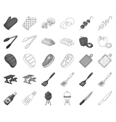 Barbecue and equipment monochromeoutline icons in vector