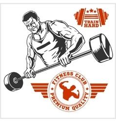 Bodybuilder and Bodybuilding Fitness logos emblems vector image