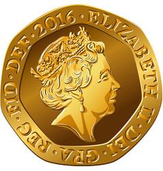 British gold coin twenty pences vector