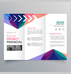 Business trifold brochure template with colorful vector