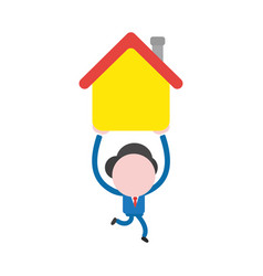 businessman character running and carrying house vector image
