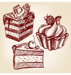 Cakes fast food set hand drawn llustration vector