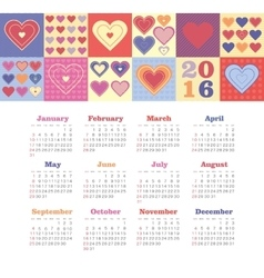 Calendar for 2016 with heart Week Starts Sunday vector