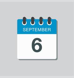 Calendar icon day 6 september template date days vector