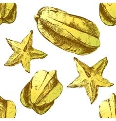 carambola fruit on white background vector image