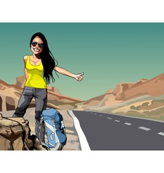 cartoon cheerful woman with a backpack hitchhiking vector image