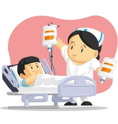 Cartoon nurse helping child patient vector