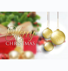 christmas baubles on defocussed background vector image