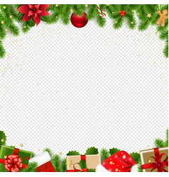 christmas border with fir tree transparent vector image