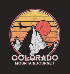 colorado typography graphics with mountains vector image