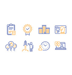 Company launch project and seo strategy icons set vector