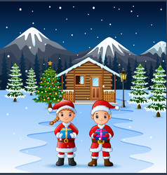 couple santa claus holding a box gift in front of vector image