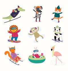 Cute animals winter activities set vector