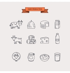 Dairy production Icon set vector